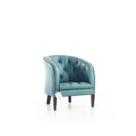 Fauteuil Chesterfield Burghley - Cuir Deluxe Aqua