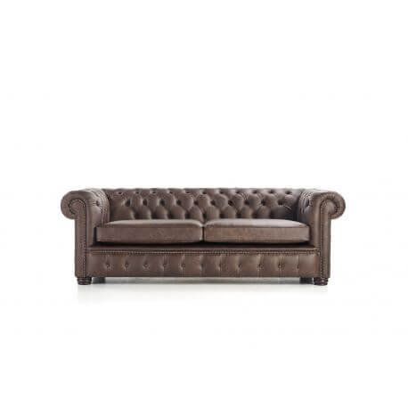 Canapé Chesterfield London 3 places - Cuir Premium Dark Brown