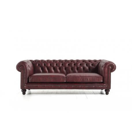 Chesterfield Hampton 3 places - Cuir Premium Vintage Oxblood