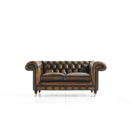 Chesterfield Chatsworth 2 places - Cuir House Antique Harvest Gold