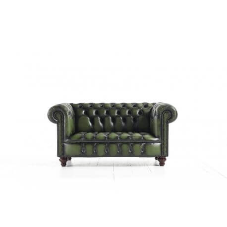 Chesterfield Kensington 2 places - Cuir House Antique Green