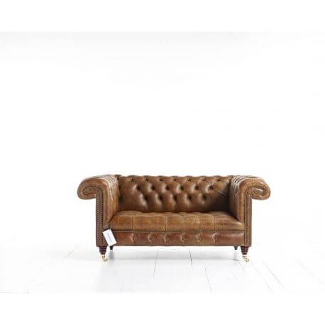Chesterfield Sandringham 2 places - Cuir Premium Vintage Cognac