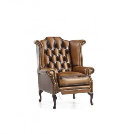 Fauteuil Chesterfield Newby - Cuir Antique harvest gold