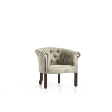 Fauteuil Chesterfield Ragley - Cuir Premium latte