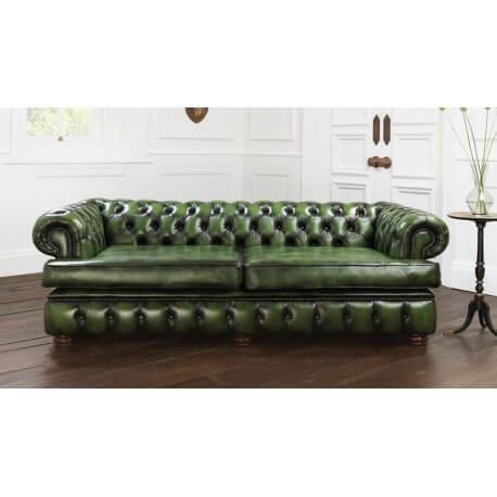 Chesterfield Harewood 3 places - Cuir Antique Green
