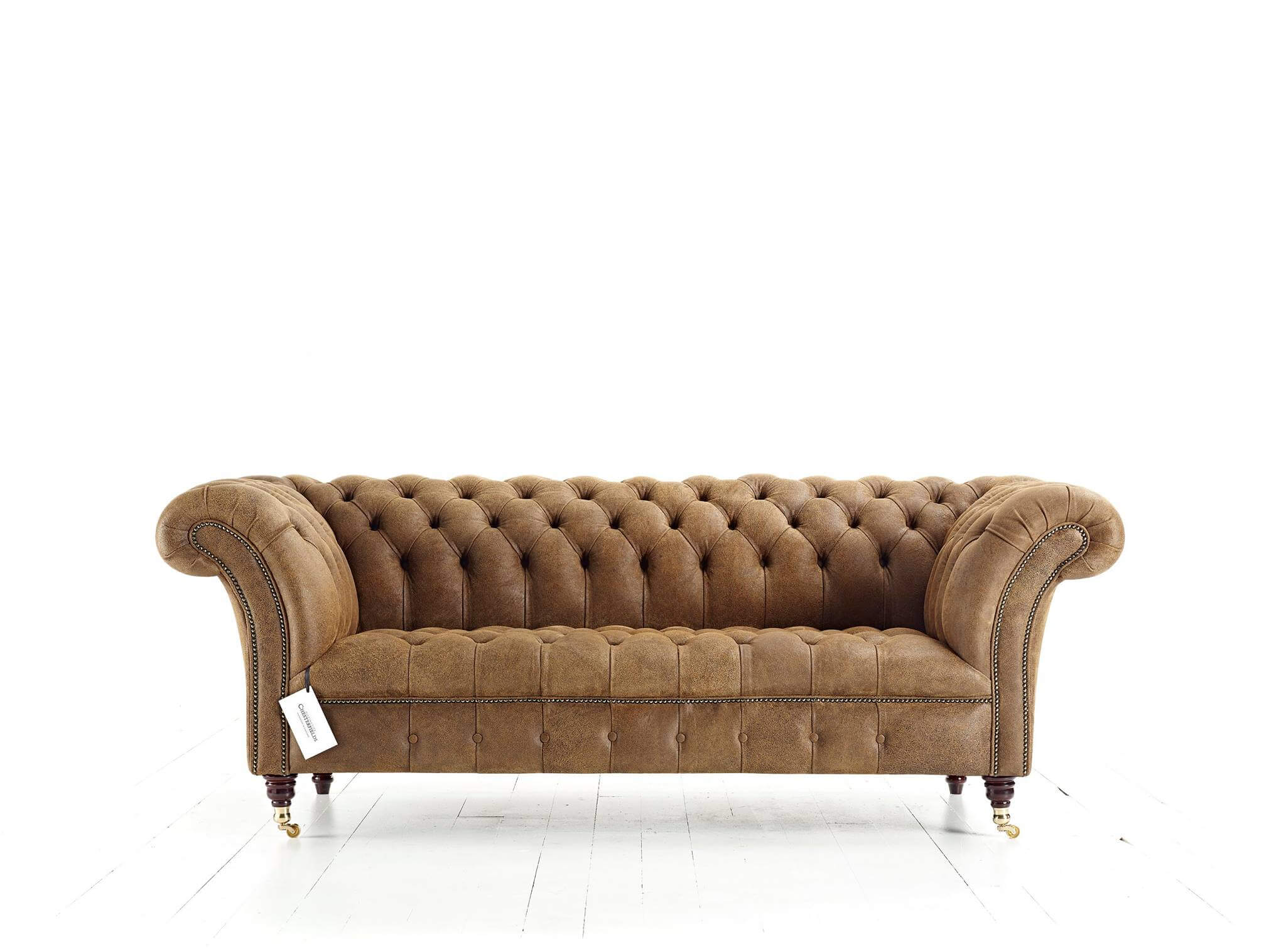 Canapé Chesterfield Blenheim en cuir marron