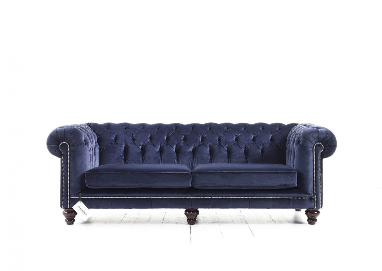 Canapé Chesterfield Hampton en velours bleu