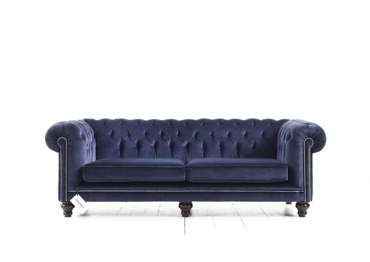 Canapé Chesterfield Hampton en velours bleu